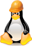 picture of webspaced logo, Tux the penguin in a hard hat